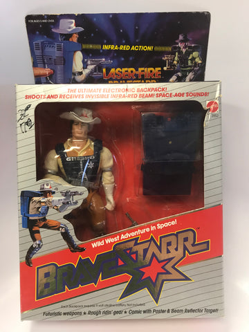 1986 Mattel Marshal Bravestarr Laser Fire Backpack Action Sealed Unopen Box
