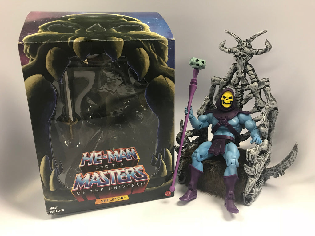 Mattel Masters of the Universe Classics MOTUC Filmation Skeletor in Box With Custom Throne
