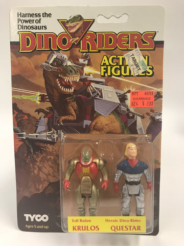 Tyco Dino-Riders Action Figures Evil Ruler KRULOS & Heroic Dino-Rider QUESTAR MOC Unopened