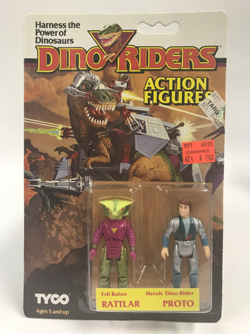 Tyco Dino-Riders Action Figures Evil Ruler RATTLAR & Heroic Dino-Rider PROTO MOC Unopened