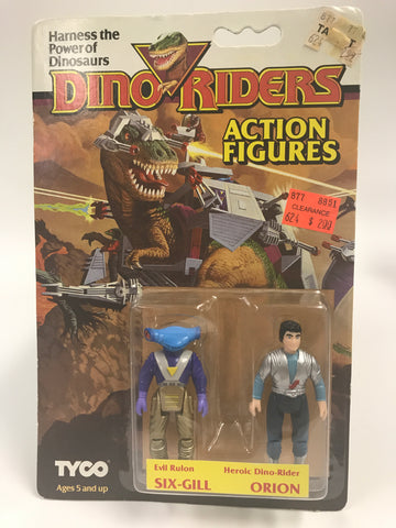 Tyco Dino-Riders Action Figures Evil Ruler SIX-GILL & Heroic Dino-Rider ORION MOC Unopened