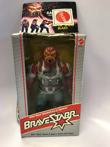 1986 Mattel Marshal Bravestarr Sand Storm Sandstorm with Vapor Spray Blast In Box