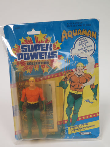 DC Comics Kenner Super Powers Aquaman 12 Back French Canadian Card MOC SEALED