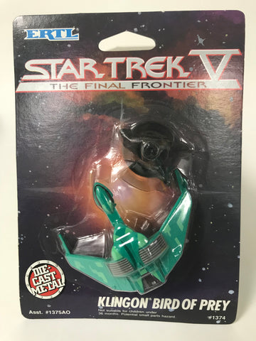 1989 ERTL Star Trek V 5: The Final Frontier Klingon Bird of Prey Die Cast Metal Ship MOC