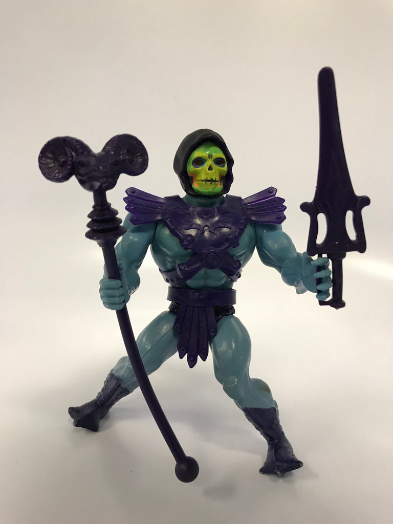 1981 Mattel He-Man & The Masters of the Universe Half Boot Skeletor Loose Complete - Black Belt Purple Trunks COO Taiwan