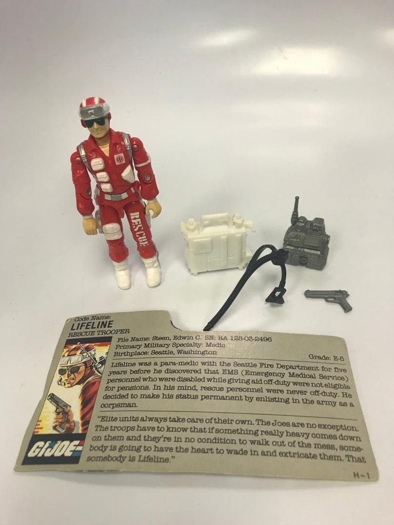 1987 Hasbro Gi Joe LIFELINE (v1) RESCUE TROOPER Loose Complete With File Card