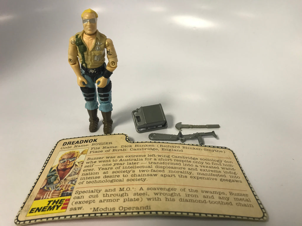 1985 Hasbro Gi Joe BUZZER (v1) DREADNOK Loose Complete with Filecard
