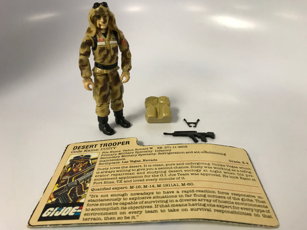 1985 Hasbro Gi Joe DUSTY (v1)  DESERT TROOPER Loose Complete with Bi-Pod