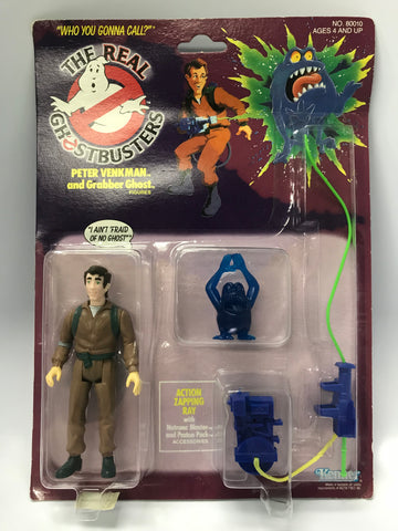 1986 Kenner The Real Ghostbusters Series 1 Yellow Text Peter Venkman Factory Sealed MOC