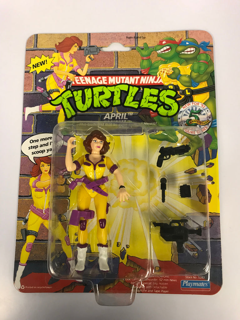 1994 Playmates Teenage Mutant Ninja Turtles TMNT April O' Neil Purple & Yellow Suit MOC