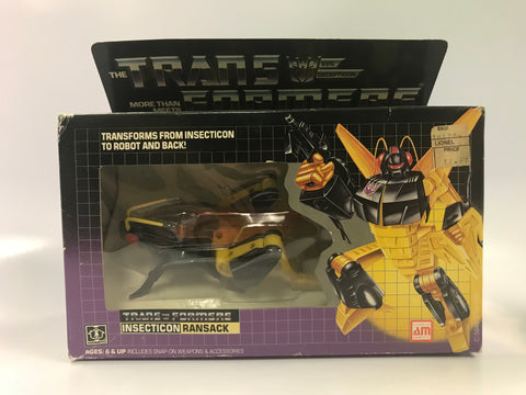 1985 Vintage Hasbro G1 Transformers Insecticon Ransack Contents Sealed Bubble Sealed Tape on Box Broke