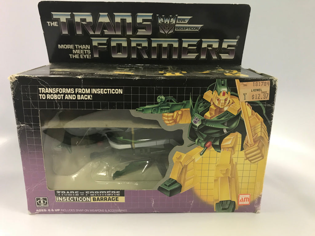 1985 Vintage Hasbro G1 Transformers Insecticon Barrage Contents Sealed Bubble Sealed Tape on Box Broke