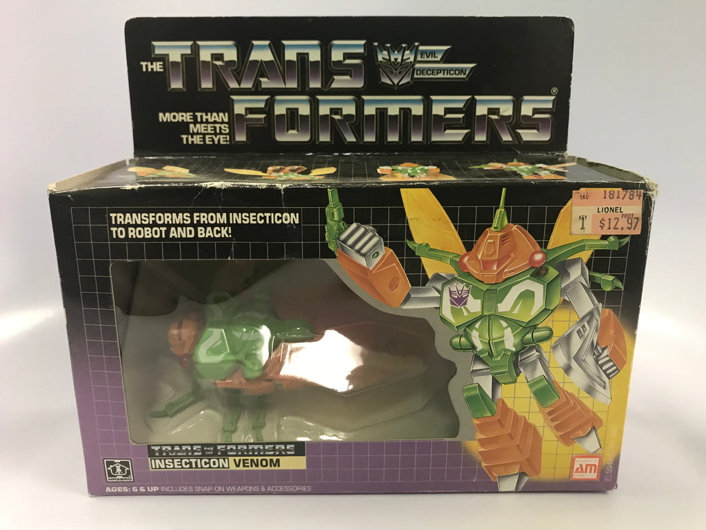 1985 Vintage Hasbro G1 Transformers Insecticon Venom Contents Sealed Bubble Sealed Tape on Box Broke