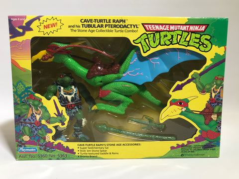 1993 Playmates Teenage Mutant Ninja Turtles TMNT Cave Turtle Raph & Tubular Pterodactyl Factory Sealed MISB