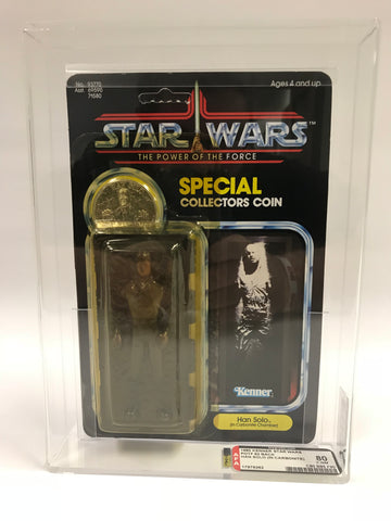1985 Kenner Star Wars Power of the Force POTF Han Solo in Carbonite AFA 80