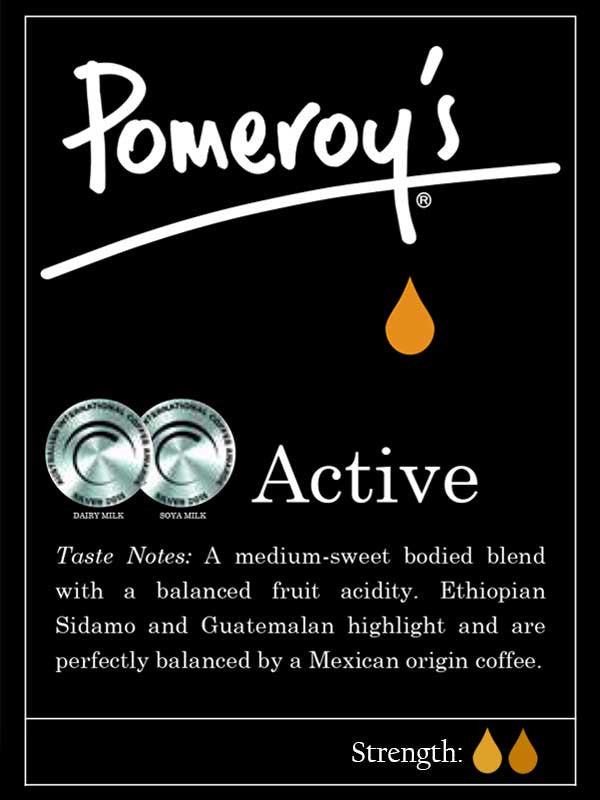 Pomeroys Active Coffee - winner of 3 silver medals at the Australian International Coffee Awards. Two silvers in 2016 and one in 2017.