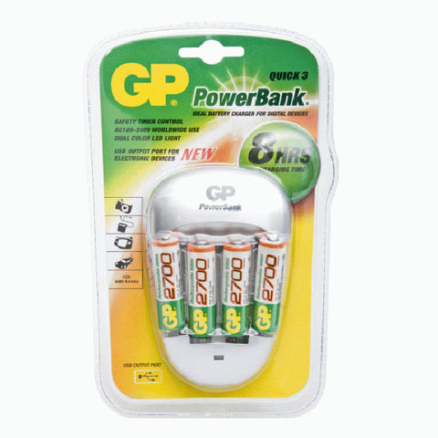 PowerBank Quick 3, incl. 4 x 270AAHC. Inclusief US
