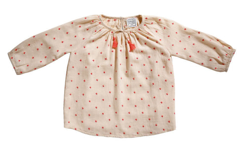 Pompon embroidered blouse