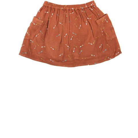 Arrows embroidered twill skirt