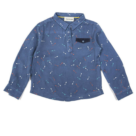 Arrows embroidered button-up shirt in blue