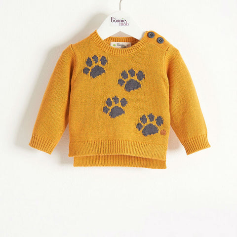 Kit paw print knit sweater  (6 to 12 months)