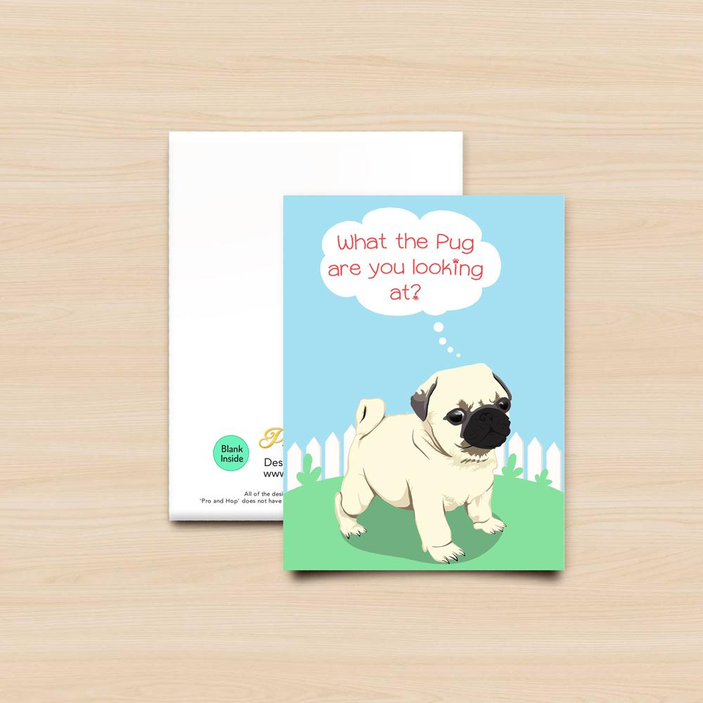 Pro & Hop Pug Pup Greeting Card