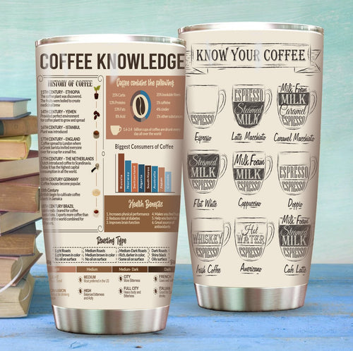 Coffee Knowledge Stainless Steel Tumbler