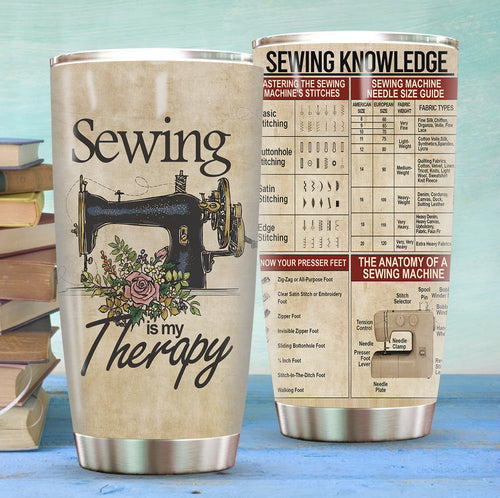 Sewing Is My Therapy Stainless Steel Tumbler
