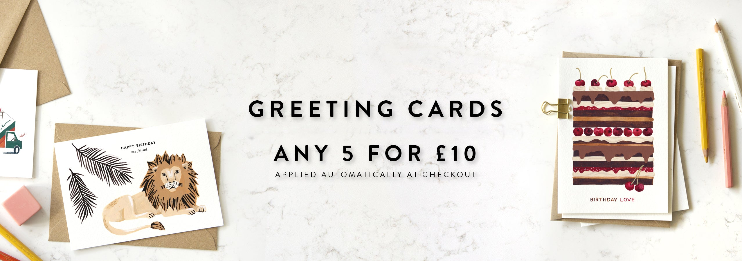 Illustrated greeting cards. Any 5 cards for £10. Discount automatically applied at checkout.