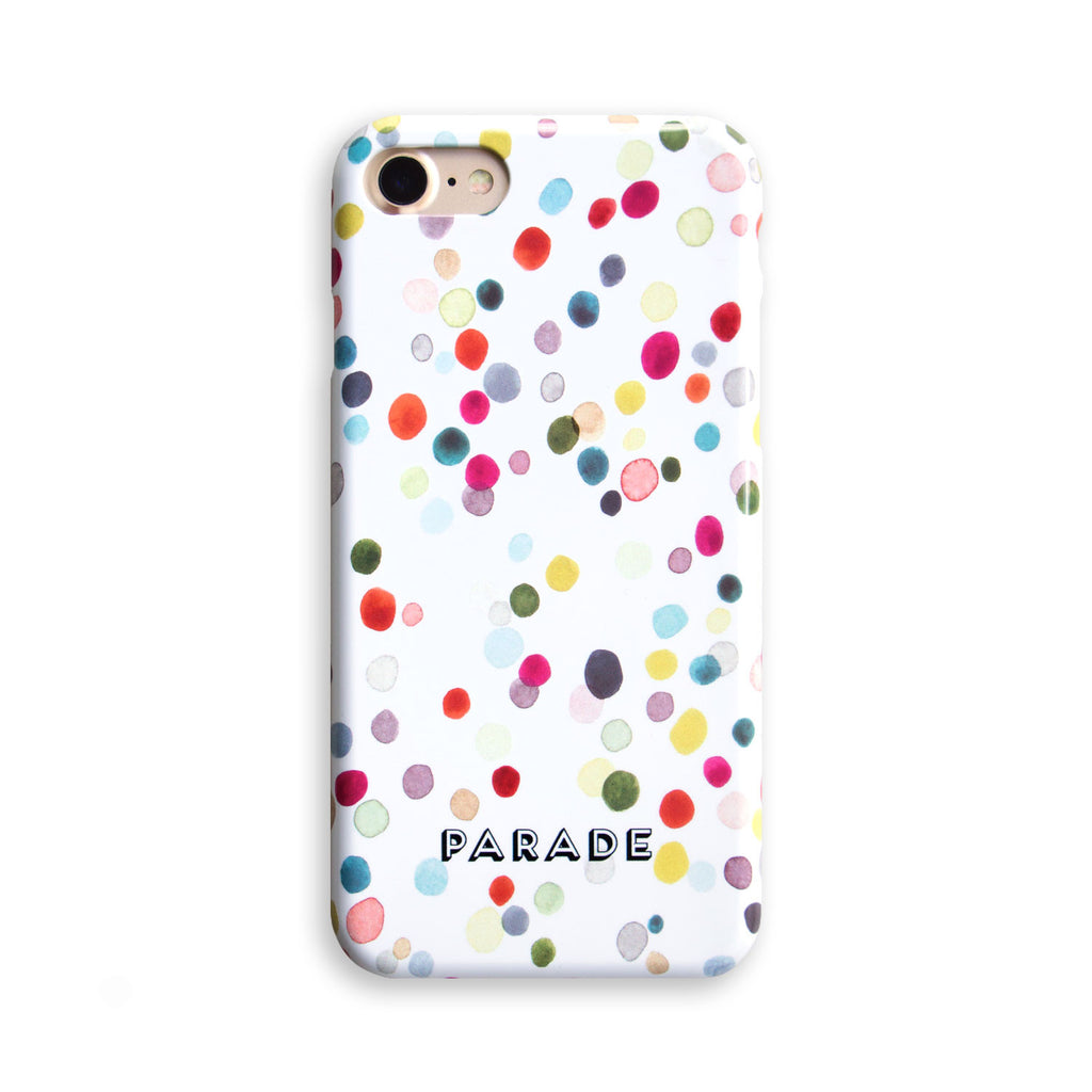 confetti patterned illustrated phone case available for a selection of makes and models