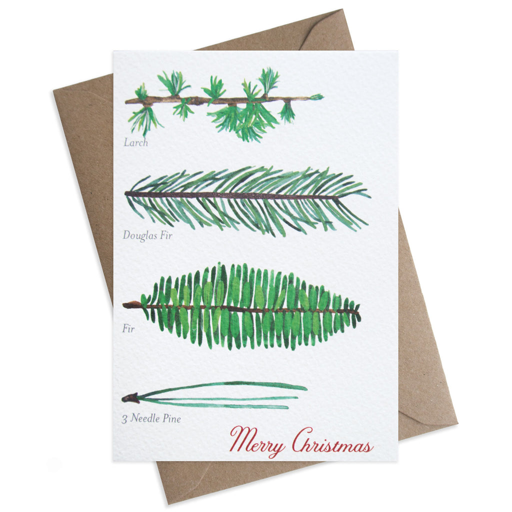 Paper Parade Stationers A6 Christmas greeting card. With festive pine branch illustration. Front reads Merry Christmas and blank inside. With Kraft fleck envelope. Pack of 8 also available.