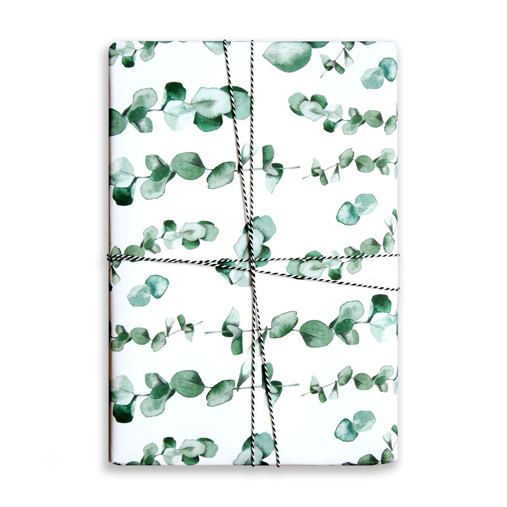 Paper Parade Stationers Christmas gift wrap sheet. With watercolour eucalyptus illustrated pattern. Also available on offer, 2 for £4. Matching gift tags also available.