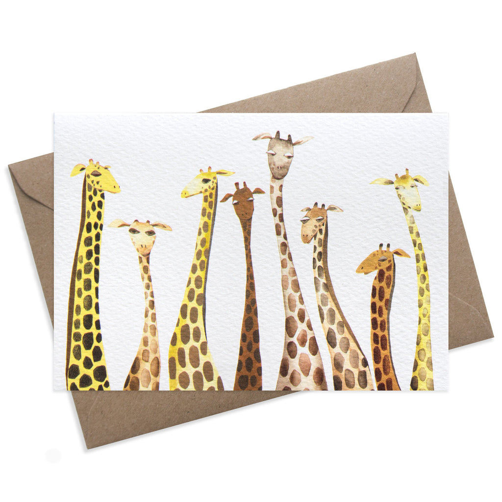 Greeting card with giraffe illustration. Colourful and perfect for children. Blank inside and suitable for any occasion.