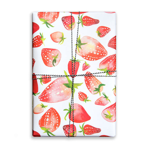 Single sheet of patterned gift wrap. Watercolour strawberries.