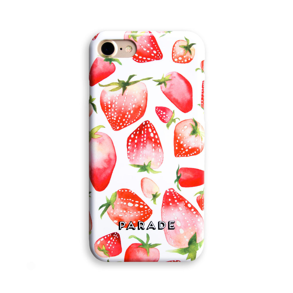 illustrated phone case with strawberry pattern. available for iPhones and Samsung models.