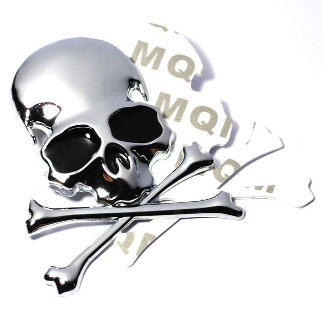 7.2x6CM 3D Metal Skull Skeleton Crossbones Car Motorcycle Sticker Truck Label Emblem Badge Car Styling Decoration Accessories