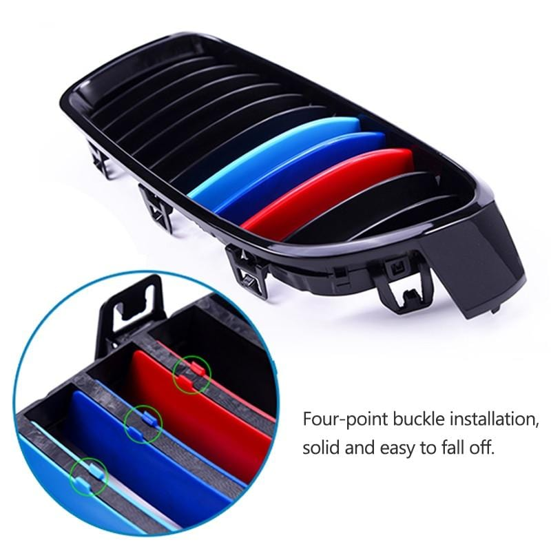 3pcs 3D Car Front Grille Trim Sport Strips Cover Stickers For BMW