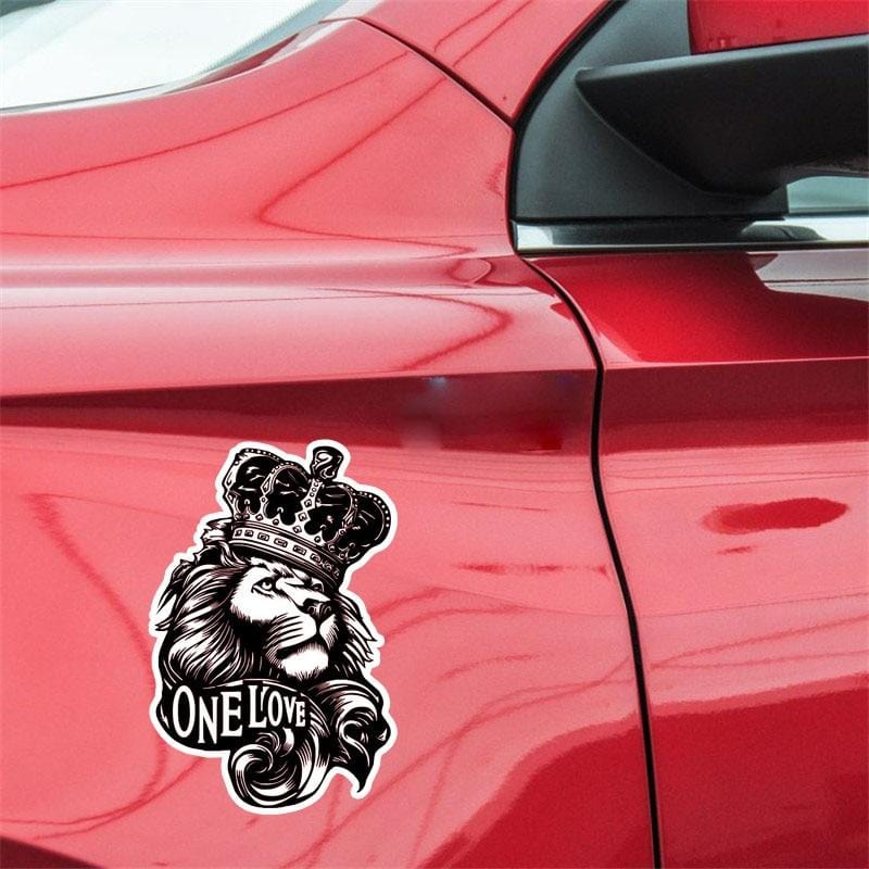 10*15.3CM One Love Lion Crown PVC High Quality Animal Car Sticker