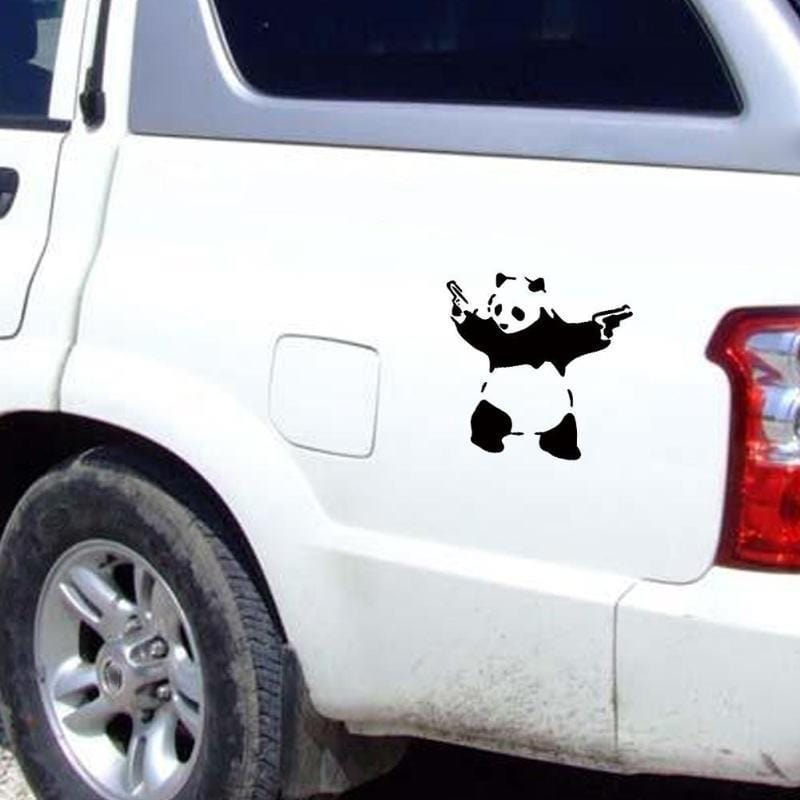 Lovely Panda with Two Guns 3D Car Truck Window Reflective Funny Cute Animal Sticker Decal