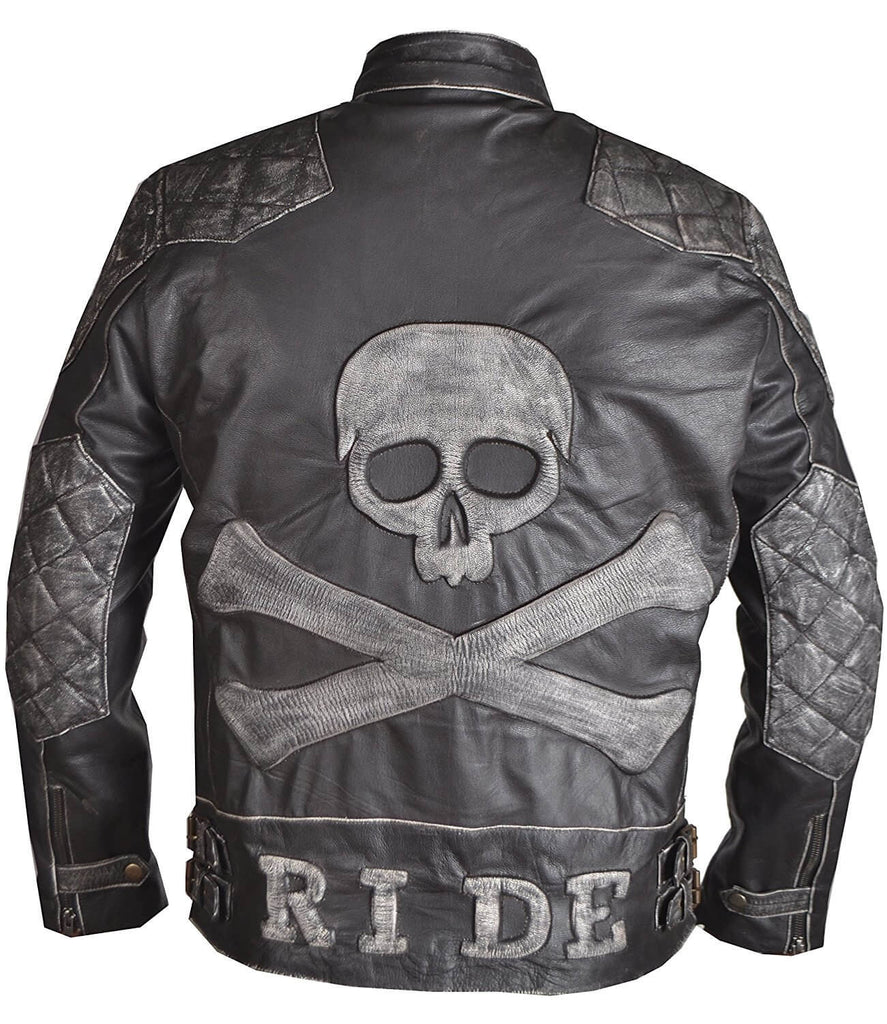 Men's Skull and Bones Leather Biker Jacket