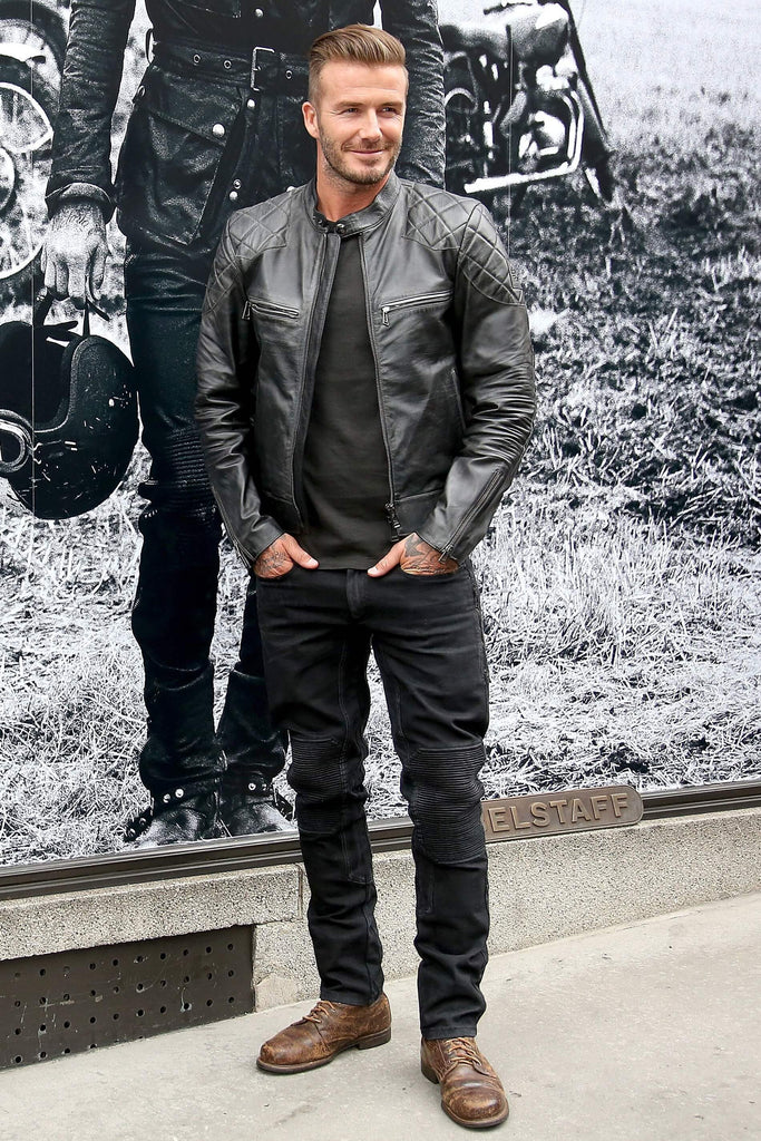 Men's Black Genuine Lambskin Leather Biker Jacket Inspired by David Beckham