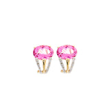 Matching PInk Topaz & Diamond Earrings