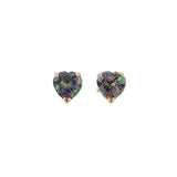 Mystic Topaz Heart Shaped Post Earrings in 14K Yellow Gold