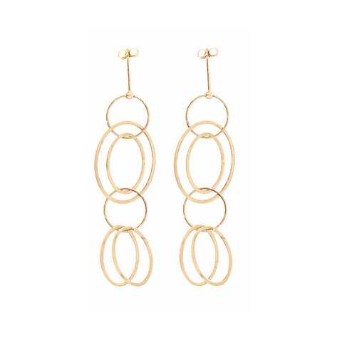 14K Gold Large Loop Chain Post Earrings