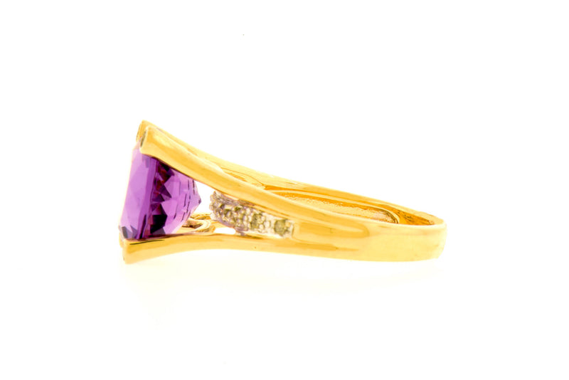 4 Prong Faceted Amethyst & Diamond Ring in 14K Yellow Gold