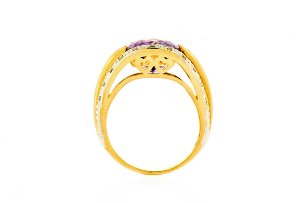 14k Gold Diamond & Amethyst Ring
