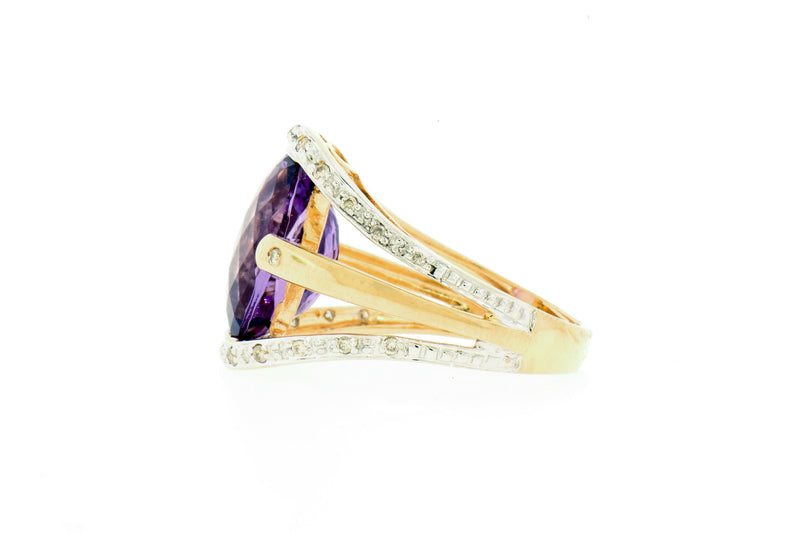 Diamond & Amethyst 14k Gold Ring
