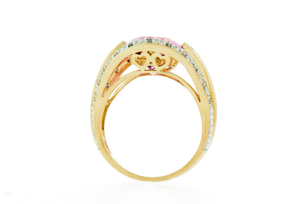 Heart Embellished 14K Gold Ring with Pink Topaz & Diamonds