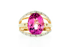 Pink Topaz & Diamond Ring set in 14K Yellow Gold