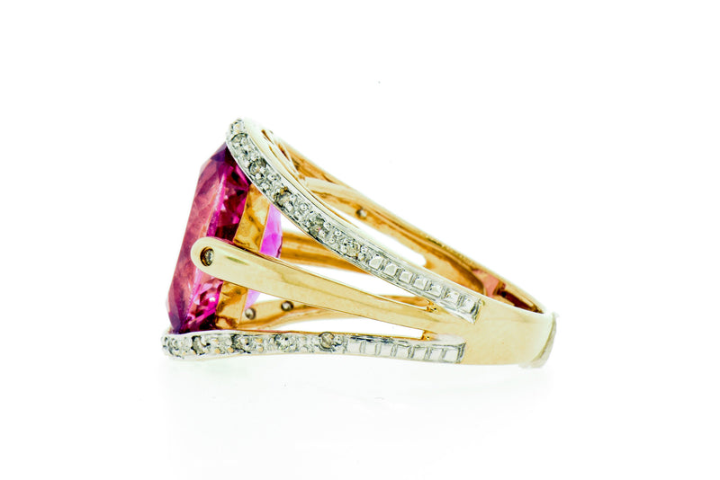 14K Gold Pink Topaz & Diamond Ring